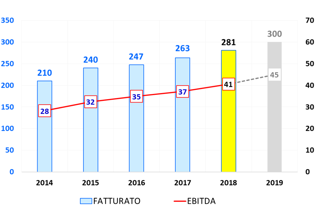 Riello Elettronica Tabella Fatturato-EBITDA