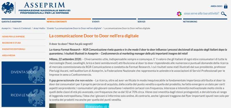 rgr comunicazione sul sito di Confcommercio