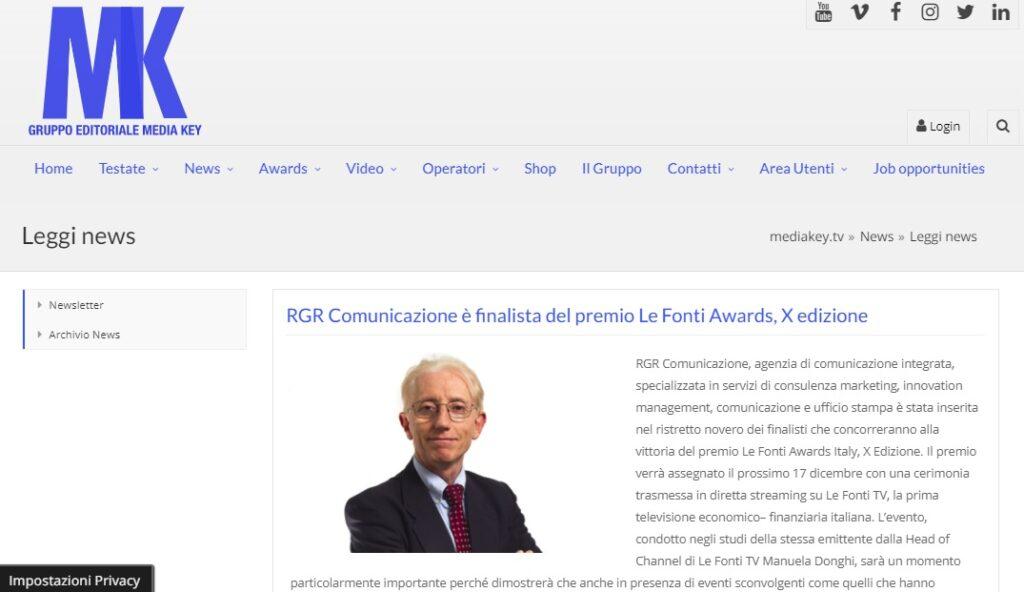 RGR Finalista del Premio Le Fonti Award