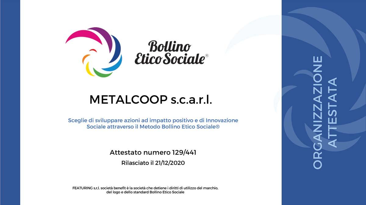 Metalcoop attestata Bollino Etico Sociale